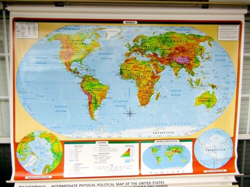 RAND MCNALLY 3 MAP PULL DOWN SET!!!  WORLD HISTORY HOME CHARTER SCHOOL MARKABLE