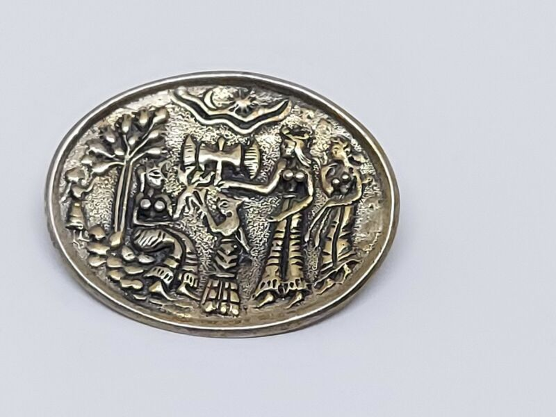 Vintage Palace of Knossos Minoan Crete Sterling Silver 835 Brooch Pin