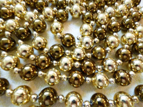"GOLD & SILVER COLOR BALL BEAD CHRISTMAS TREE GARLAND 112""L EACH SET OF 3"