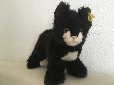 Steiff Katze mit Knopf  im Ohr  schwarz  schwarzer Kater H:23, B:37