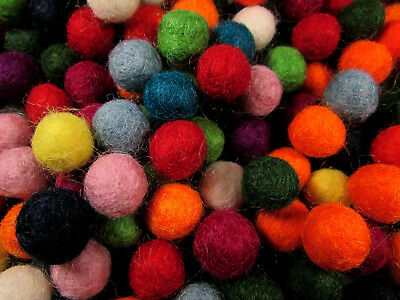 F50 Decorative felt ball pom pom 1cm 100pc hand craft wool mix color beads Nepal