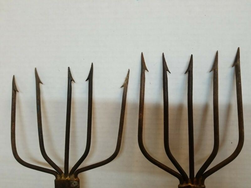 Antique Pair Hand Forged Fish Fishing Spear #1 Wrought Iron Signed lot
