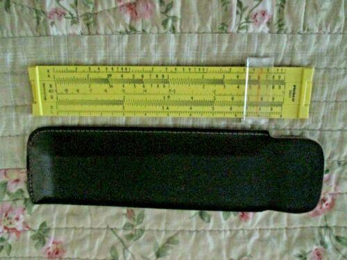 "Vintage Yellow Pickett Model 160 Compact 6"" Pocket Slide Rule Microline w/ Case"