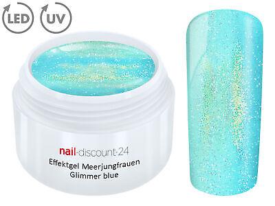 UV LED Gel MERMAID GLIMMER Effekt BLUE Farb Color Nagel Glitter Art Blau Tips