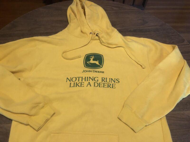 John Deere Authentic Nothing Runs Like A Large Yellow Hoodie Sweatshirt