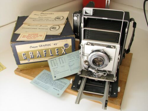 Graflex Crown Graphic 4x5 w. Kodak 127mm Ektar f/4.7 Lens Beautiful Mint-