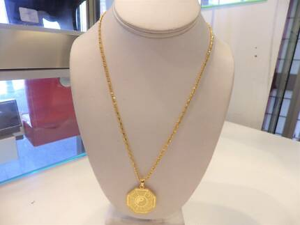 24K GOLD CHAIN SET WITH A 24K CHINESE PENDANT