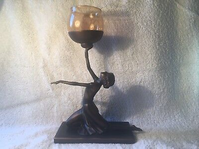 Art Deco Bronze Effect Candle Holder Figurine from Past Times