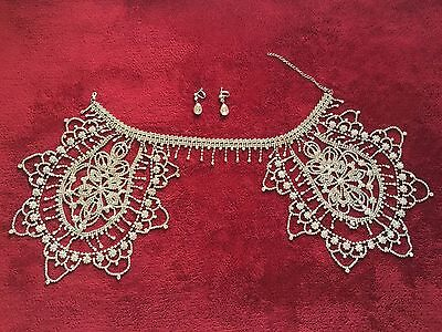 Wedding Bridal Shoulder Chain Necklace Earring Jewelry set - U.S Seller