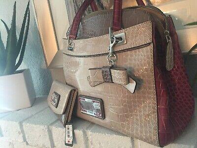 NEW 2PC Set Best Gift Ladies Guess D'Orsay Satchel Bag Stone Wallet Shoulder Tag