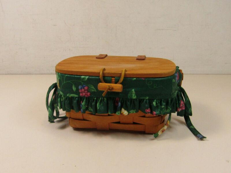 1997 Longaberger Small Basket Lid Leather Hinges Handle Cloth & Plastic Liners