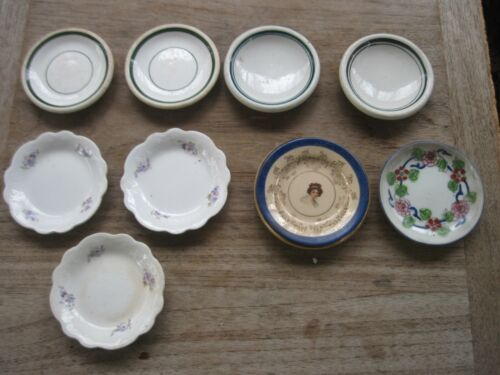 9 Antique Porcelain/China Butter Pat Plates, Several Makers, Designs, Sizes