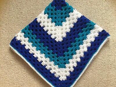 Hand crocheted baby Boys/girls blanket /car seat/pram/crib White/turquoise/navy