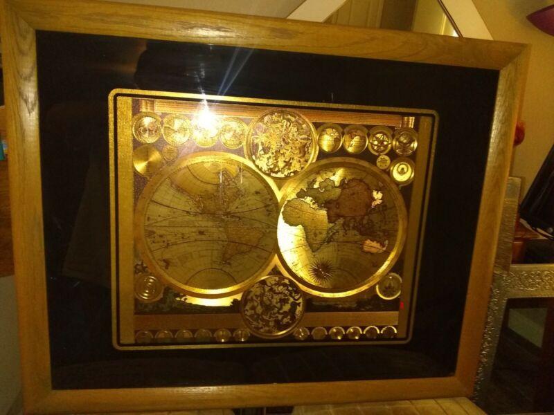 Vintage Planisphaerium Terrestre Gold Foil World Map