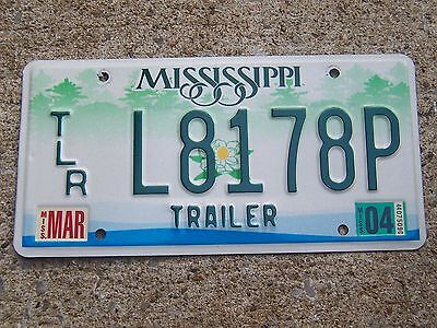 L 8178 P = March 2004 Mississippi Trailer  License Plate   I Combine Shipping