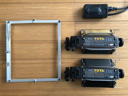 Set of 2 Lowel TOTA Studio Light Fixtures with 12ft Dimmer Cord