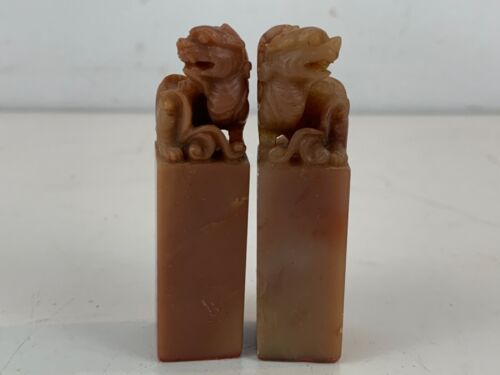Vintage Chinese Carved Stone Pair of Food Dog Decorated Seal Stamps
