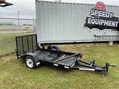 2007 4 X 8 Utility Trailer 4-wheeler - Steel Bed Ramp Single Axle