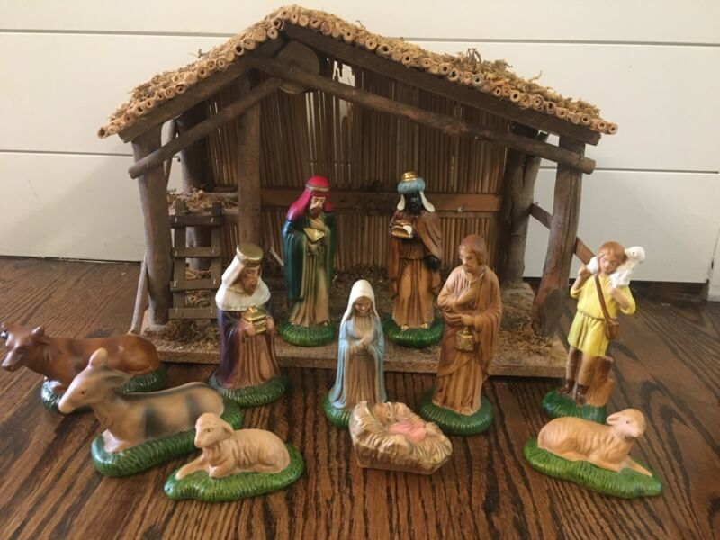 Vintage Wood Ceramic Nativity Set Manger & Taiwan Figurines Christmas Jesus Mary