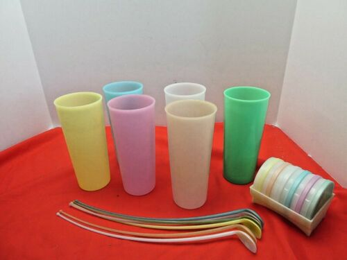 LOT of 6 PASTEL TUPPERWARE 107 Tumblers Ice  Tea  Cups Glass  Coaster Set Spoons