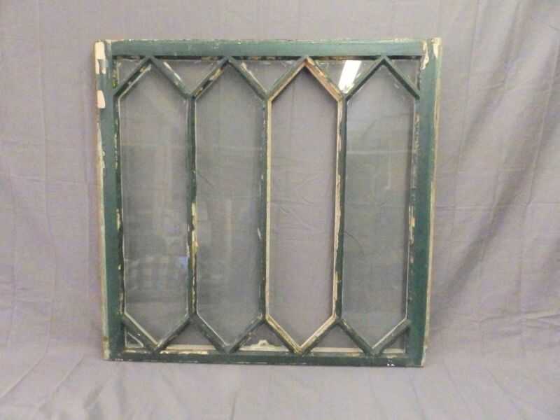 Antique Diamond Window Sash Shabby Tudor Garden Chic Vtg 14 Lite 31x32 579-17P