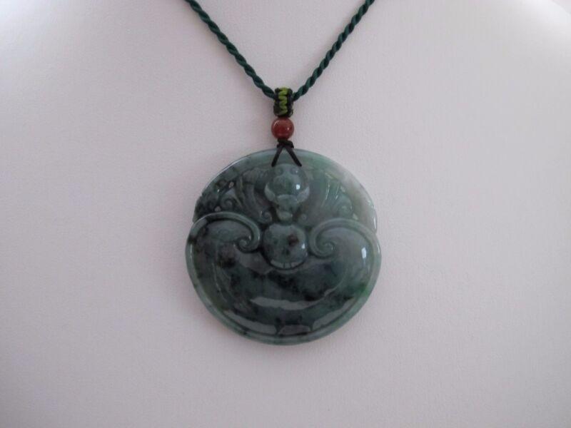 100% Natural Type A Jadeite Jade Ruyi and Bat pendant