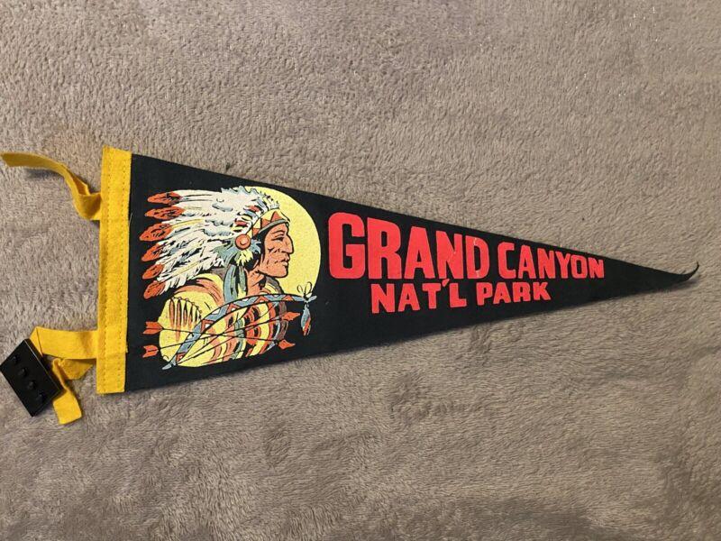 Vtg Souvenir Pennant GRAND CANYON NATL PARK Ariz Indian Head Native American