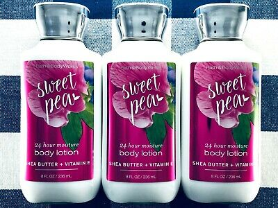 3 Bath & Body Works SWEET PEA Shea Butter & Vitamin E Body Lotion 8oz Each Shea Body Butter Lotion