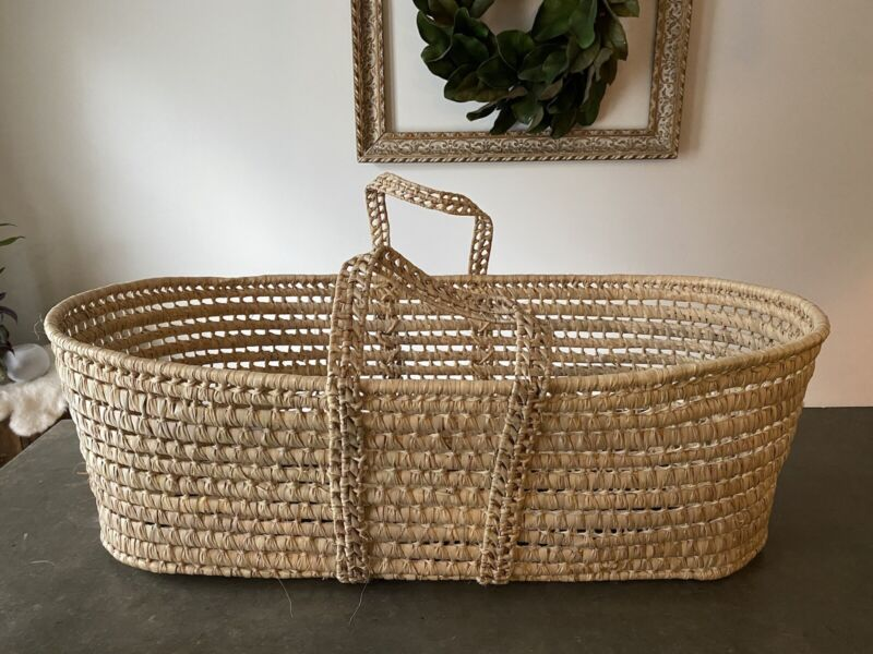 "Palm Leaf Baby Moses Basket Newborn Bassinet Nursery Storage Boho Natural 32x18"""
