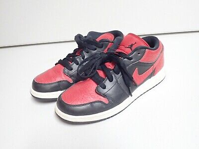 Nike Air Jordan 1 Low Black with red accents size 6Y  553560-013 Shoes