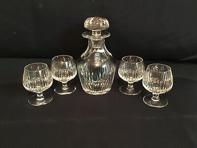 VINTAGE GUCCI CRYSTAL BRANDY DECANTER & 4 SNIFFER GLASSES PRE OWNED RARE