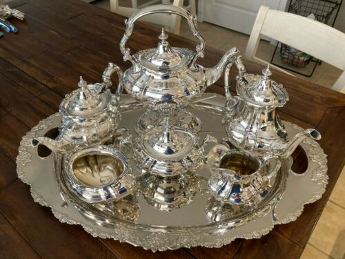 MUSEUM QUALITY COMPLETE REED & BARTON HAMPTON COURT 9-PC STERLING SILVER TEA SET