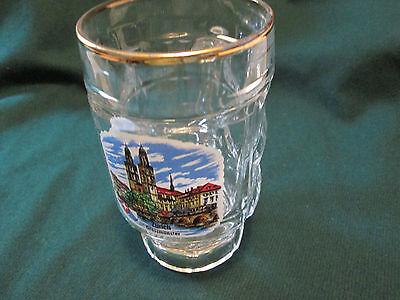 Beer Glass Mug Zurich Grossmunster  Germany Castle  Gold Rim