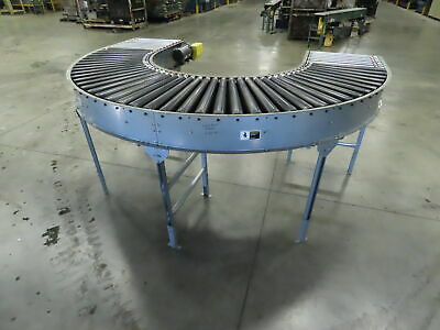 Automotion 180 Curve Power Roller Bed Conveyor V-belt Drive 1hp 3ph 30 X 10