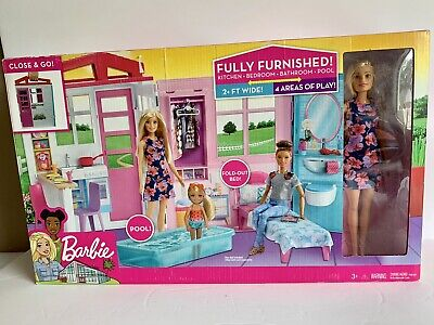 Barbie Portable 1-Story Toy Play Set Dollhouse with Doll, Pool, and Furniture