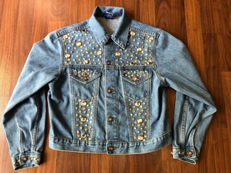 Vintage USA-Made Gazoz Bedazzled Studded Jean Jacket Denim - Small