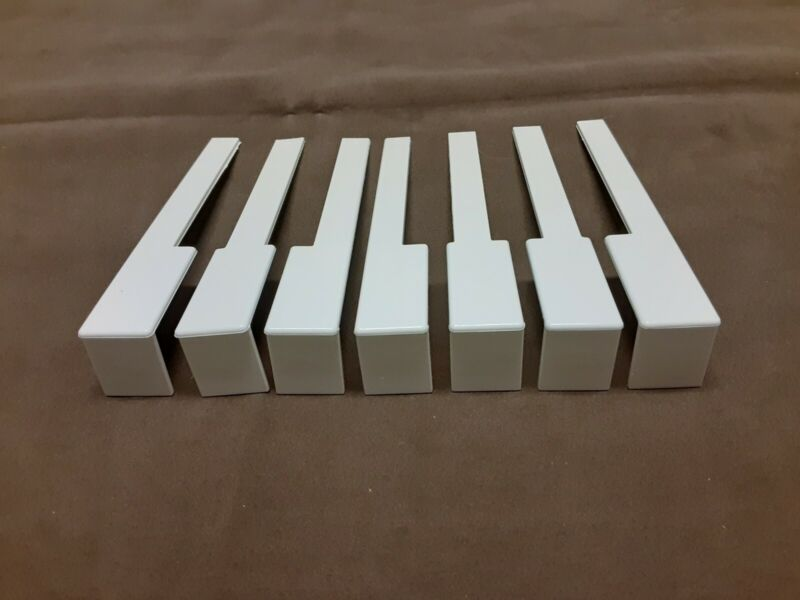 "One Set (52) Piano Keytops with Fronts 2"" Head Replacement White Keys"