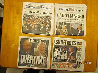 DONALD TRUMP 4-NEWSPAPER LOT;CHICAGO TRIBUNES/SUN-TIMES/ NOV 2016 !!