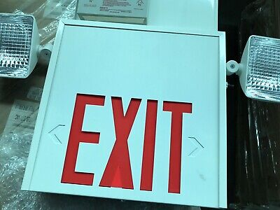 Led Exit Sign And Emergency Light Combination With Battery Backup 120v