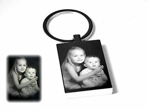 Personalised Photo Image & text Engraved Rectangle Keyring -GREAT CHRISTMAS GIFT