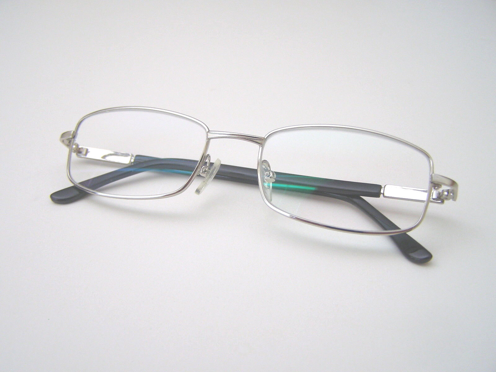 silver color frame real glass lens reading glasses 1 pair