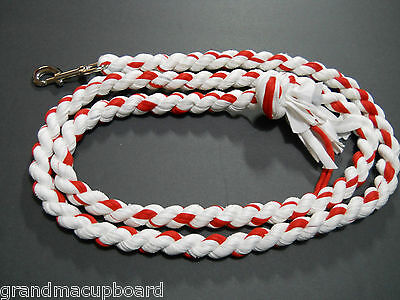 "Red White 78"" Cotton Horse Lead Rope Tack Dog Leash Heavy Chrome Snap Clip New"