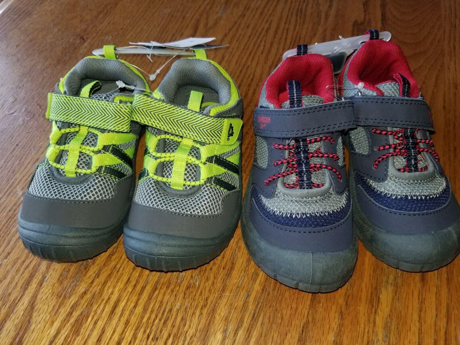 New Boys Oshkosh B'Gosh Shoes Washable Gray Green Blue Red 5