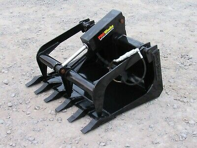 36 Solid Bottom Bucket Grapple With Teeth Attachment Fits Mini Skid Steer Dingo