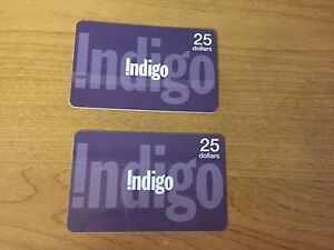 Two $25 indigo/chapters/Coles gift cards
