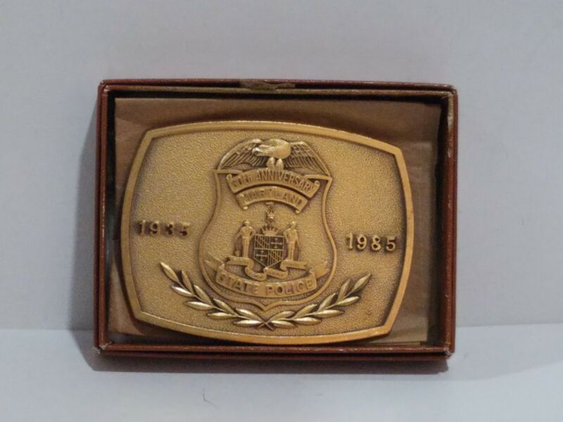 1985 Maryland State POLICE 50th Anniversary Commemorative Belt Buckle