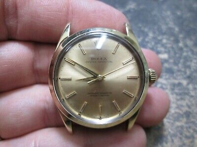 VINTAGE MENS ROLEX OYSTERPERPETUAL GOLD TOP RUNNING WRIST WATCH REF 1025 MINTY