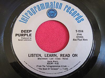 - ROCK 45 - DEEP PURPLE - LISTEN LEARN READ ON / RIVER DEEP MOUNTAIN HIGH VG+