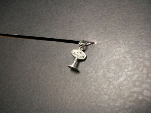 VINTAGE WW II ERA Sterling Silver Charm of A NO PARKING SIGN