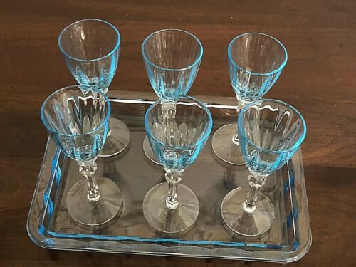 "Set 6 FOSTORIA FAIRFAX  AZURE blue CORDIAL Goblets & TRAY  stem 5098 4"" 3/4 oz."